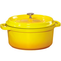 GET CA-011-Y/BK Heiss 2.5 Qt. Yellow Enamel Coated Cast Aluminum Round Dutch Oven with Lid