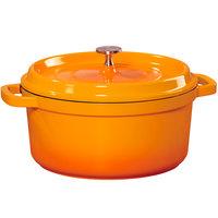 GET CA-011-O/BK Heiss 2.5 Qt. Orange Enamel Coated Cast Aluminum Round Dutch Oven with Lid