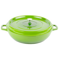 GET CA-008-G/BK Heiss 4.5 Qt. Green Enamel Coated Cast Aluminum Round Brazier / Paella Dish with Lid