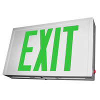Lavex Industrial Double Face White Steel LED Exit Sign with Green Lettering and Battery Backup