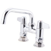 Equip by T&S 5F-4DLX06 Deck Mounted Faucet with 4 inch Adjustable Centers, 6 1/8 inch Swing Spout, 5.2 GPM Laminar Flow Device, Cerama Cartridges, and Lever Handles