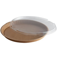 Solut 68260-CP 13 inch Bake and Show Kraft Oven Safe Takeout Cookie / Pizza Tray with Lid - 30/Case