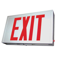 Lavex Industrial Double Face White Steel LED Exit Sign with Red Lettering and Battery Backup