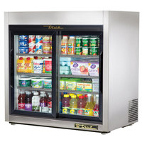 True TSD-9G-LD Stainless Steel Countertop Display Refrigerator with Sliding Doors - 8.2 cu. ft.