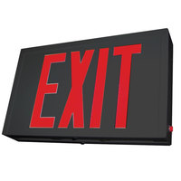 Lavex Industrial Double Face Black Steel LED Exit Sign with Red Lettering and Battery Backup