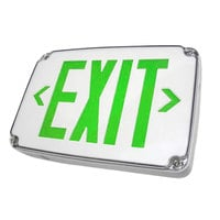 Lavex Industrial Double Face Wet Location Cold Weather Ready White LED Exit Sign with Green Lettering and Battery Backup - 120/277V