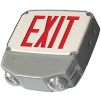 Lavex Industrial Single Face Wet Location Gray LED Exit Sign / Emergency Light Combination with Red Lettering and Battery Backup