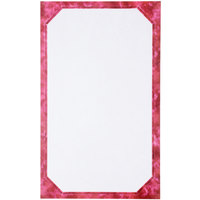 8 1/2 inch x 14 inch Burgundy Menu Paper - Angled Marble Border - 100/Pack