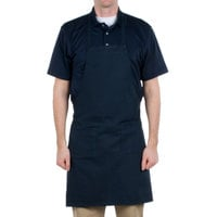 Choice Navy Blue Full Length Bib Apron with Pockets - 34 inch x 32 inchW