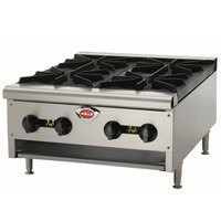Wells HDHP-2430G Natural Gas Heavy Duty 24 inch Four Burner Countertop Hot Plate - 86,000 BTU