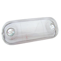 Lavex Industrial Weatherproof Dual Head Adjustable Gray LED Emergency Light with Battery Backup