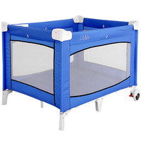 L.A. Baby PY-87 43 1/2 inch x 30 1/2 inch x 30 1/2 inch Blue Playard with Casters and Carrying Case