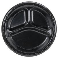 Genpak LAM39-3L Elite 8 7/8 inch Black 3 Compartment Laminated Foam Plate - 125/Pack