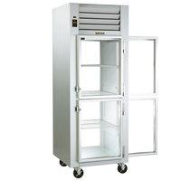 Traulsen G16003P 1 Section Half Solid Front, Half Glass Back Door Pass-Through Refrigerator - Right / Left Hinged Doors