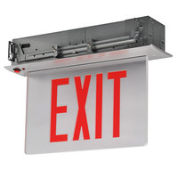 Lavex Industrial Double Face Aluminum/Mirror Recessed LED Exit Sign with Edge Lighting, Red Lettering, and Battery Backup - 120/277V
