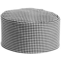 Mercer Culinary Millennia Customizable Black and White Houndstooth Top Chef Skull Cap / Pill Box Hat - Regular Size