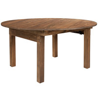 Flash Furniture XA-F-60-RD-GG Hercules 60 inch Antique Rustic Solid Pine Round Folding Farm Table