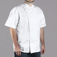 Chef Revival Silver Knife and Steel Size 48 (XL) White Customizable Short Sleeve Chef Jacket