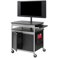 Safco 8941BL Scoot Black Flat Panel Multimedia Cart with Doors