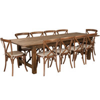 Flash Furniture XA-FARM-15-GG Hercules 40 x 108 inch x 30 inch Antique Rustic Solid Pine Folding Farm Table with 10 Cross Back Chairs and Cushions