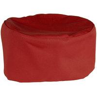Mercer Culinary Millennia Customizable Red Top Chef Skull Cap / Pill Box Hat - Regular Size