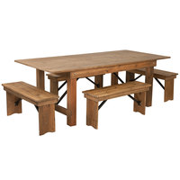 Flash Furniture XA-FARM-1-GG Hercules 40 inch x 84 inch x 30 inch Antique Rustic Solid Pine Folding Farm Table with Four Benches