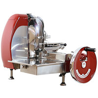 Omas Volano 14 1/2 inch Red Horizontal Belt-Driven Meat Slicer with Standard Flywheel