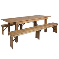 Flash Furniture XA-FARM-4-GG Hercules 40 x 96 inch x 30 inch Antique Rustic Solid Pine Folding Farm Table with Two Benches
