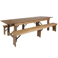 Flash Furniture XA-FARM-6-GG Hercules 40 x 108 inch x 30 inch Antique Rustic Solid Pine Folding Farm Table with Two Benches
