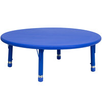 Flash Furniture YU-YCX-005-2-ROUND-TBL-BLUE-GG 45 inch Blue Plastic Round Adjustable Height Activity Table