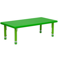 Flash Furniture YU-YCX-001-2-RECT-TBL-GREEN-GG 24 inch x 48 inch Green Plastic Rectangular Adjustable Height Activity Table