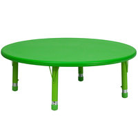 Flash Furniture YU-YCX-005-2-ROUND-TBL-GREEN-GG 45 inch Green Plastic Round Adjustable Height Activity Table