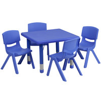 Flash Furniture YU-YCX-0023-2-SQR-TBL-BLUE-E-GG 24 inch Blue Plastic Square Adjustable Height Activity Table with 4 Chairs