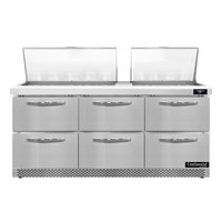 Continental Refrigerator SW72N27M-FB-D 72 inch 6 Drawer Mighty Top Front Breathing Refrigerated Sandwich Prep Table