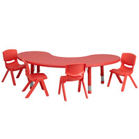 Flash Furniture YU-YCX-0043-2-MOON-TBL-RED-E-GG 65 inch x 35 inch Red Plastic Half-Moon Adjustable Height Activity Table with 4 Chairs