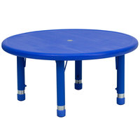 Flash Furniture YU-YCX-007-2-ROUND-TBL-BLUE-GG 33 inch Blue Plastic Round Adjustable Height Activity Table