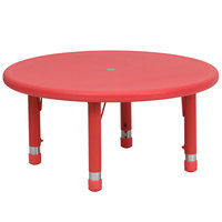 Flash Furniture YU-YCX-007-2-ROUND-TBL-RED-GG 33 inch Red Plastic Round Adjustable Height Activity Table