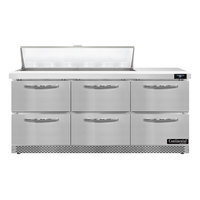 Continental Refrigerator SW72N12-FB-D 72 inch 6 Drawer Front Breathing Refrigerated Sandwich Prep Table
