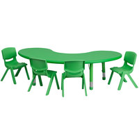 Flash Furniture YU-YCX-0043-2-MOON-TBL-GREEN-E-GG 65 inch x 35 inch Green Plastic Half-Moon Adjustable Height Activity Table with 4 Chairs
