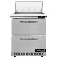 Continental Refrigerator SW27N8C-FB-D 27 inch 2 Drawer Cutting Top Front Breathing Refrigerated Sandwich Prep Table
