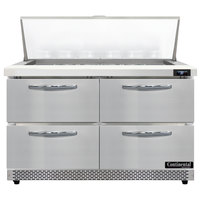 Continental Refrigerator SW48N18M-FB-D 48 inch 4 Drawer Mighty Top Front Breathing Refrigerated Sandwich Prep Table