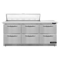 Continental Refrigerator SW72N12C-FB-D 72 inch 6 Drawer Cutting Top Front Breathing Refrigerated Sandwich Prep Table