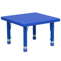 Flash Furniture YU-YCX-002-2-SQR-TBL-BLUE-GG 24 inch Blue Plastic Square Adjustable Height Activity Table