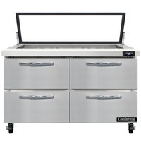Continental Refrigerator SW48N18M-HGL-D 48 inch 4 Drawer Mighty Top Hinged Glass Lid Refrigerated Sandwich Prep Table