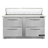 Continental Refrigerator SW60N16C-FB-D 60 inch 4 Drawer Cutting Top Front Breathing Refrigerated Sandwich Prep Table