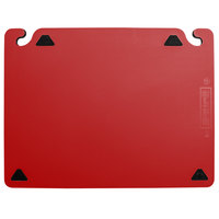 San Jamar CBQGSC1824RD QuadGrip™ 24 inch x 18 inch x 1/8 inch Red Cutting Board with Smart Check Visual Indicator Refill - 2/Pack