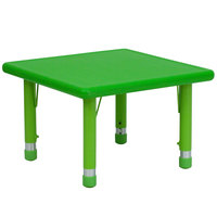 Flash Furniture YU-YCX-002-2-SQR-TBL-GREEN-GG 24 inch Green Plastic Square Adjustable Height Activity Table