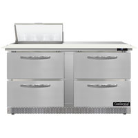 Continental Refrigerator SW60N8C-FB-D 60 inch 4 Drawer Cutting Top Front Breathing Refrigerated Sandwich Prep Table