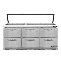Continental Refrigerator SW72N30M-HGL-FB-D 72 inch 6 Drawer Mighty Top Front Breathing Hinged Glass Lid Refrigerated Sandwich Prep Table