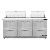 Continental Refrigerator SW72N18C-FB-D 72 inch 6 Drawer Cutting Top Front Breathing Refrigerated Sandwich Prep Table